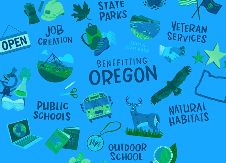 pattern of illustrations showing things benefitting Oregon