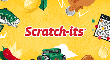 Scratch-its logo with illustrations of car and bingo