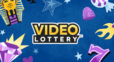 Video Lottery logo with illustrations of stars and jewels