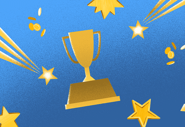 Illustration of gold trophy with shooting stars