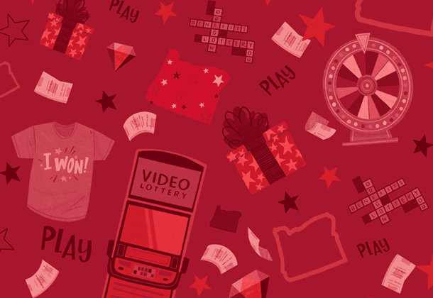 red illustration of Video Lottery machine, prize wheel, t-shirt