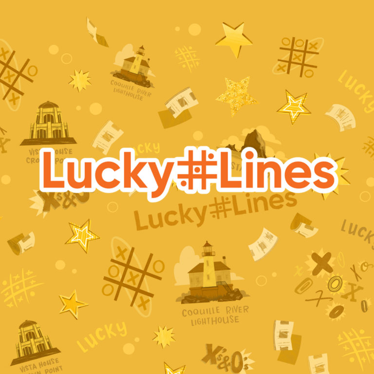lucky lines logo on patterned background