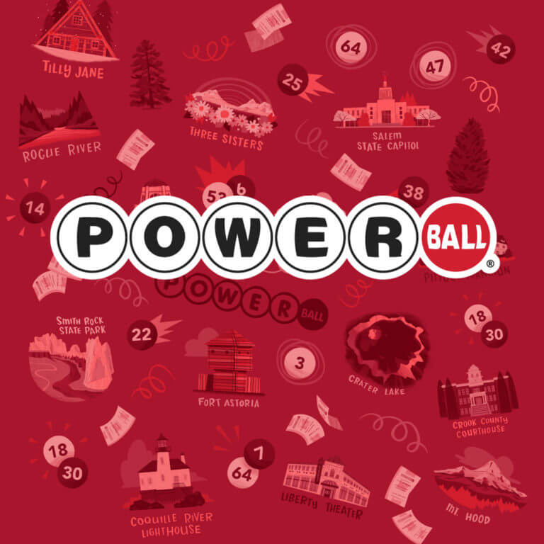 powerball logo on patterned background
