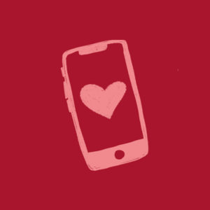 illustration of cell phone with heart on screen
