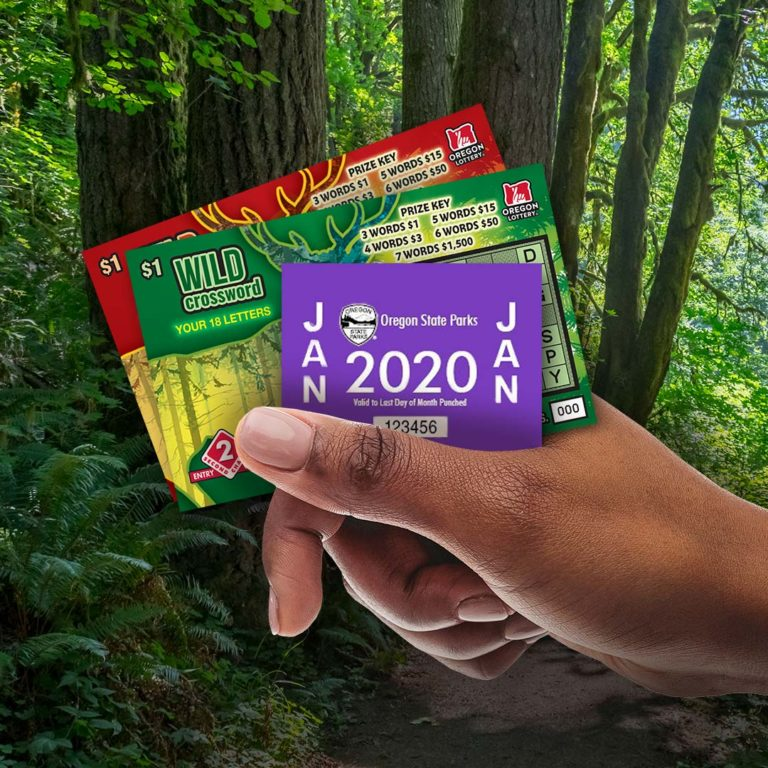 hand holding state parks parking pass and scratch-its