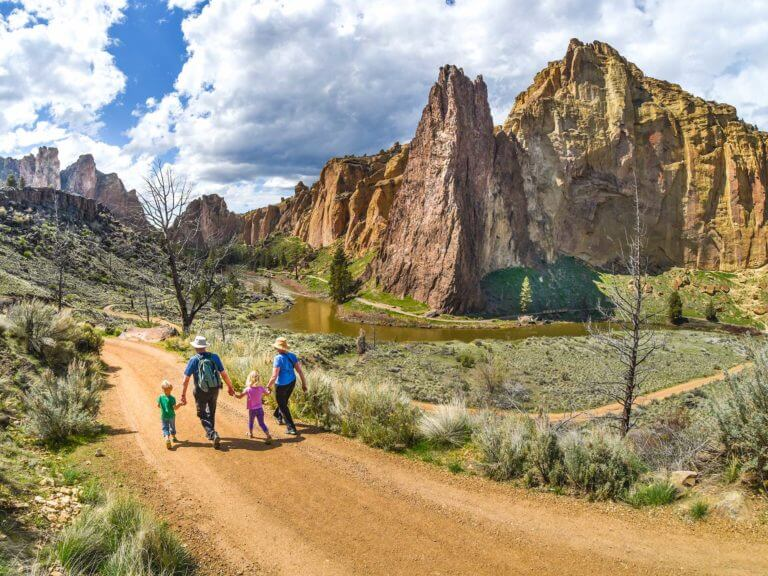 Family walking at Smith Rock