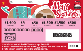 Merry Slothmas scratched ticket