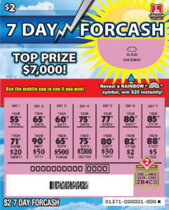 7 Day Forcash winning ticket