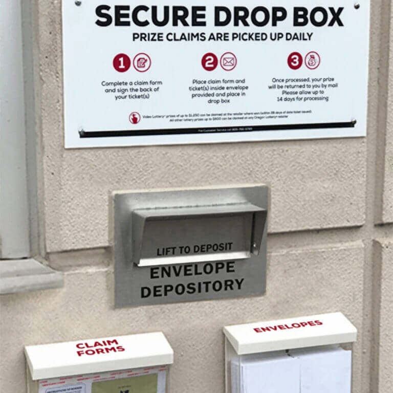 Drop box for prize claims in Salem