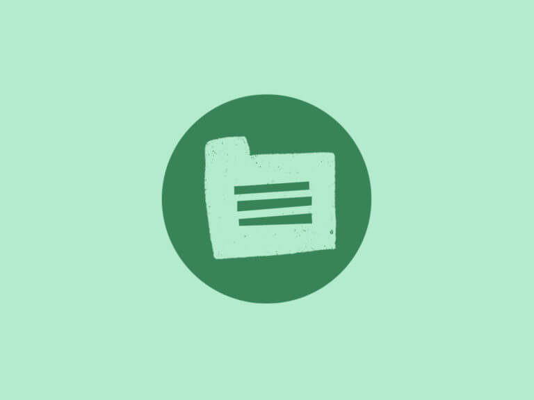 green icon of an illustration of a folder file