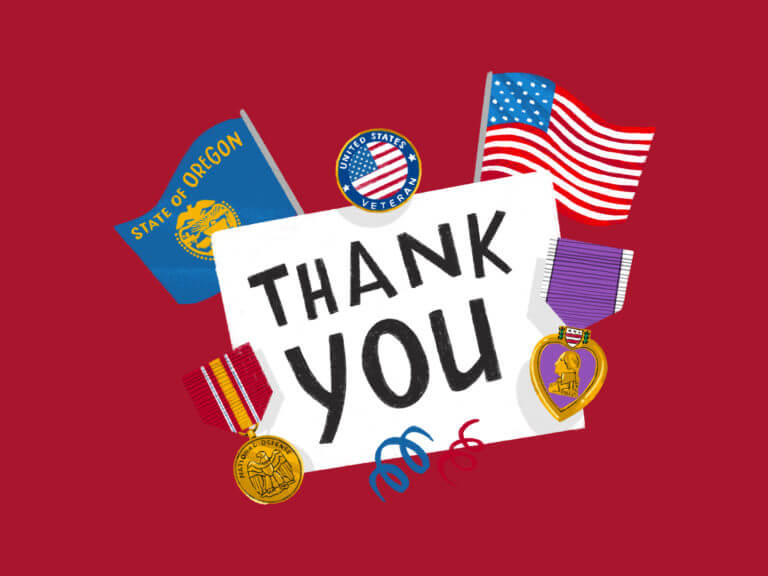 illustration with the words Thank You and veteran medals